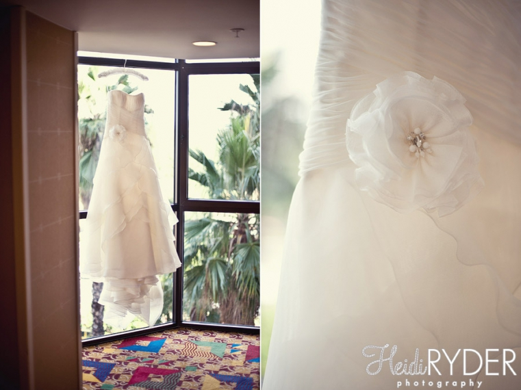 wedding dress in hallway