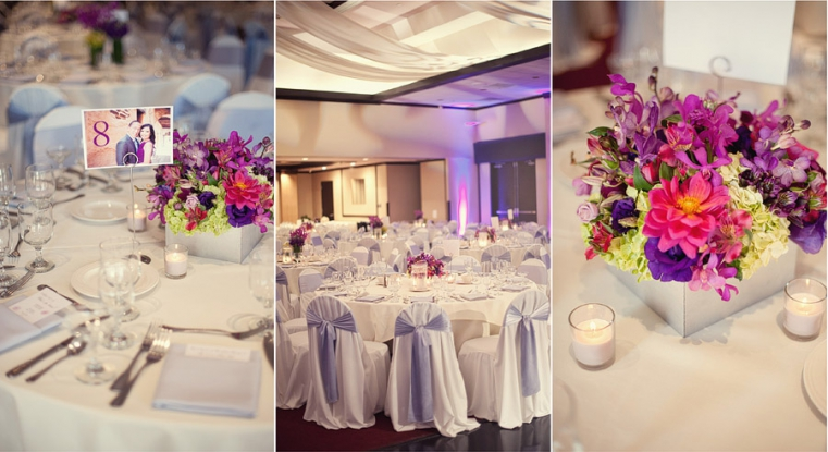 purple pink wedding centerpieces