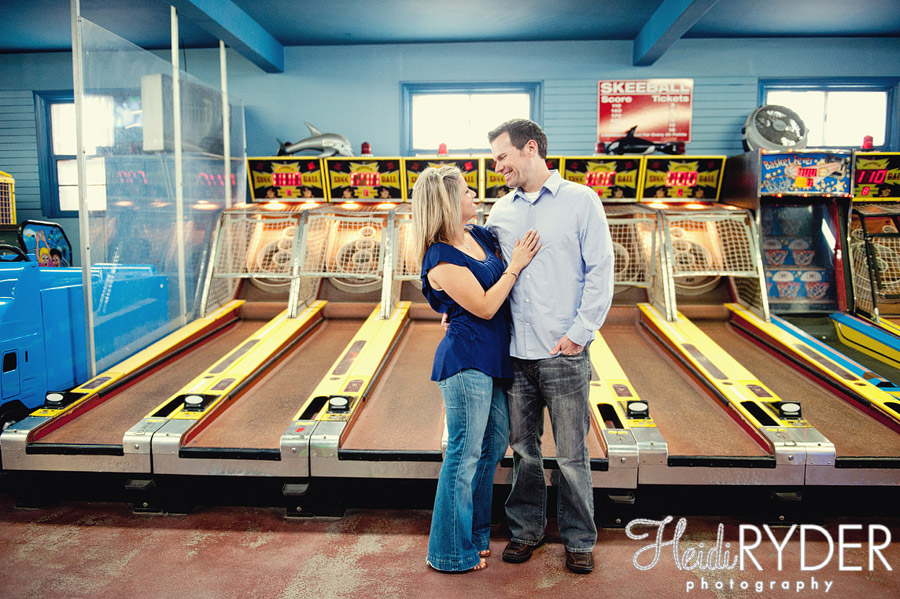 ski ball engagement photos