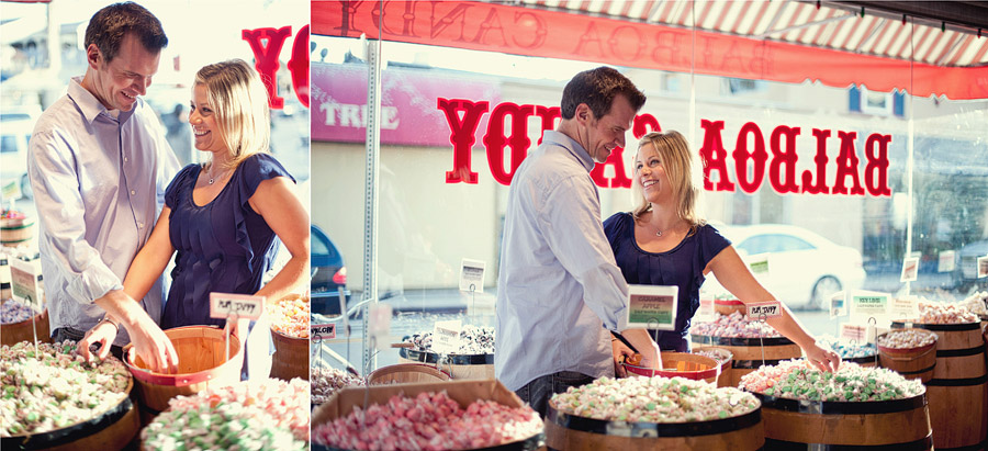 candy shop engagement photos
