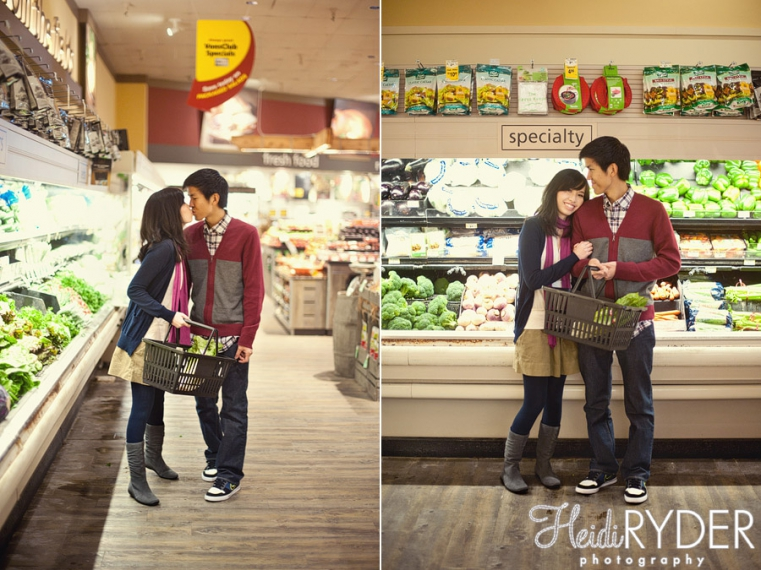 grocery store engagement session
