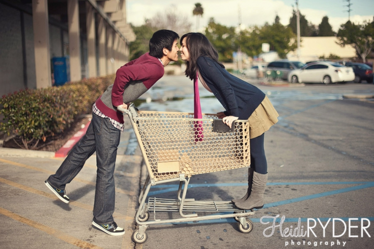 engaged couple shopping cart