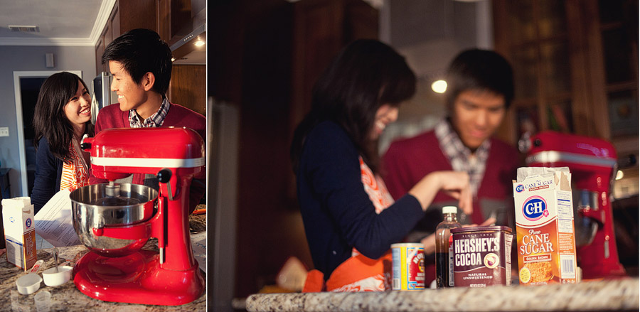 baking cookies engagement session