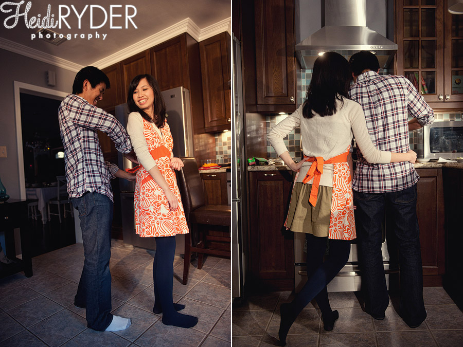 cooking themed engagement photos