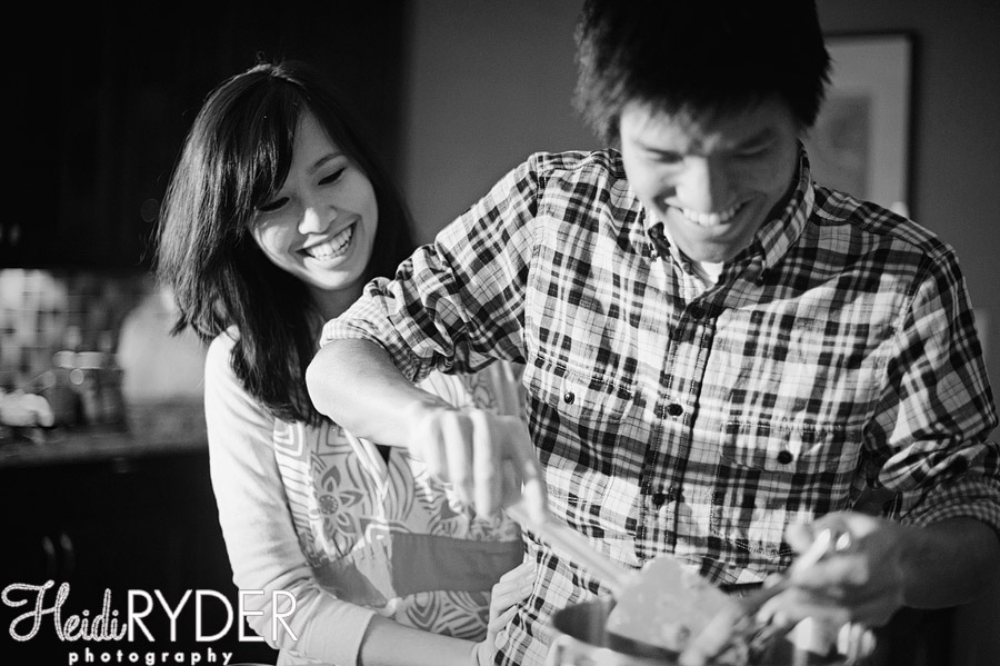 engaged couple in kitchen