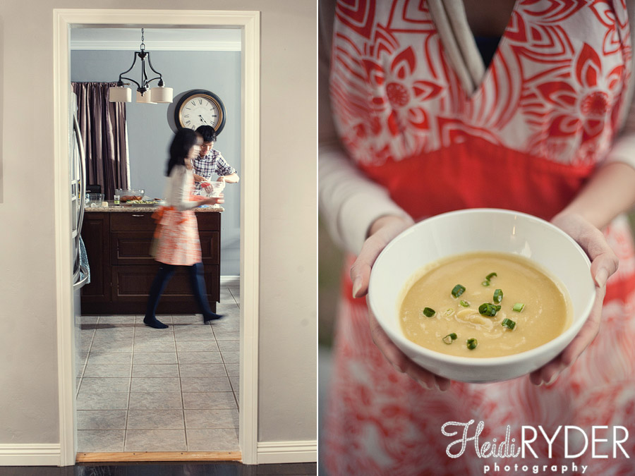 engagement session while cooking