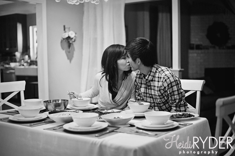engaged couple eating dinner