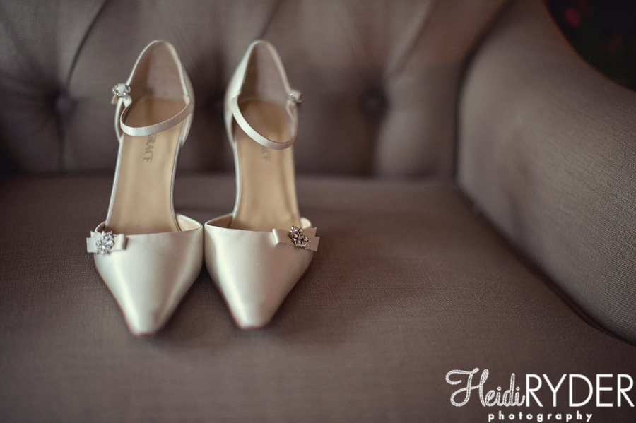 satin white wedding shoes