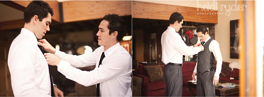 groom helping brother dress