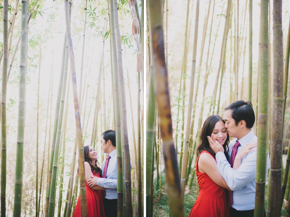 Bamboo forest engagement photo